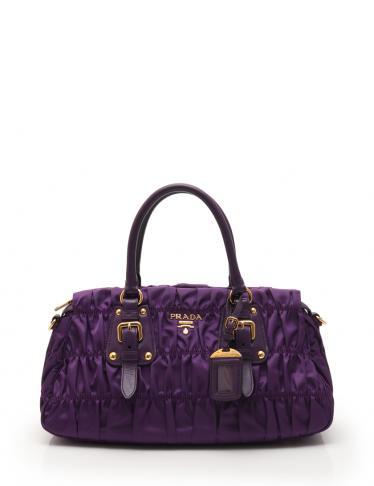 9154a35e25a3 PRADA(プラダ)TESSUTO GAUFRE ハンドバッグ ナイロン レザー 紫|中古ブランド通販のRECLO