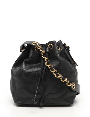 9a5922a3a62e CHANEL(シャネル)ココマーク チェーンショルダーバッグ キャビアスキン 黒 巾着型|中古ブランド通販のRECLO