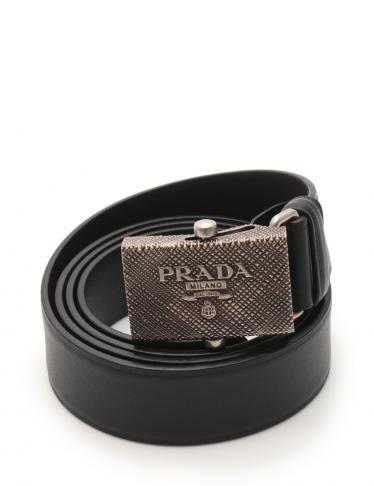 a763c7e66950 PRADA(プラダ) ベルト レザー 黒 型押しシルバー金具 中古ブランド通販のRECLO