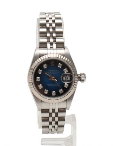 premium selection 165dc 2f741 ROLEX(ロレックス)デイトジャスト レディース 腕時計 SS K18WG シルバー ブルーグラデーション文字盤 W番  新型10Pダイヤ|中古ブランド通販のRECLO