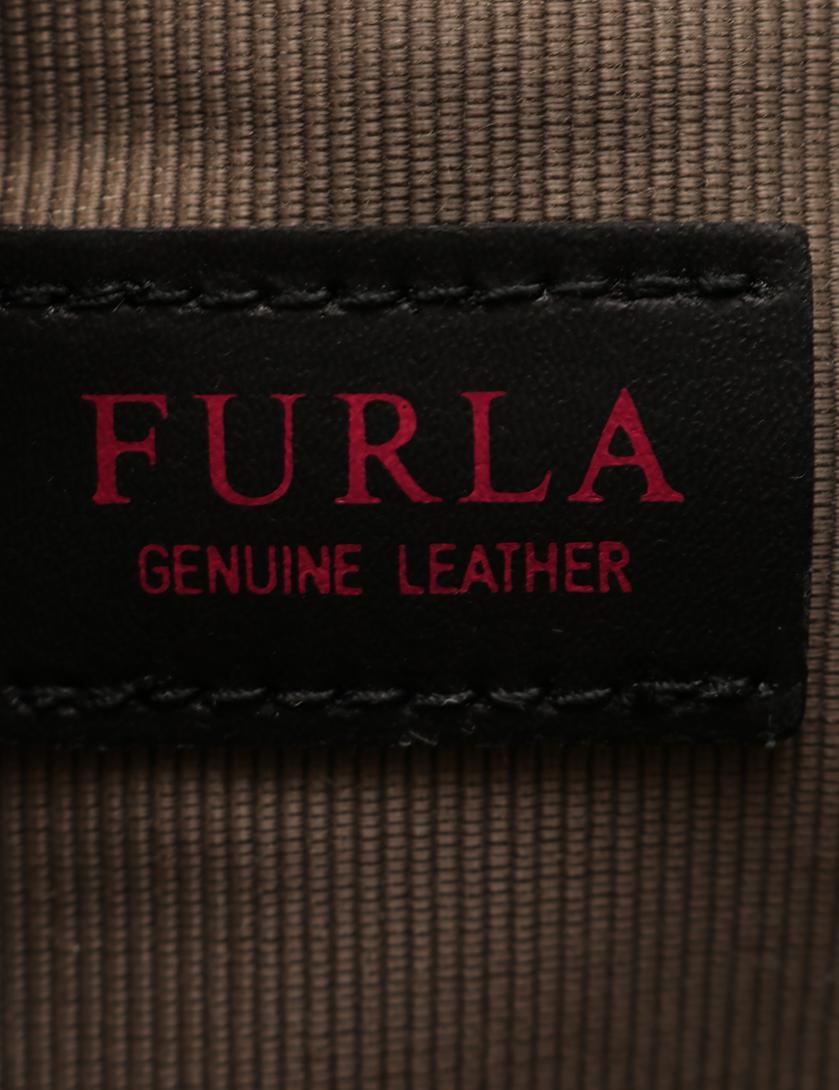 74835fd38201 FURLA(フルラ)MUGETTO ムゲット ハンドバッグ レザー グレーベージュ 黒 白 2WAY 中古ブランド通販のRECLO
