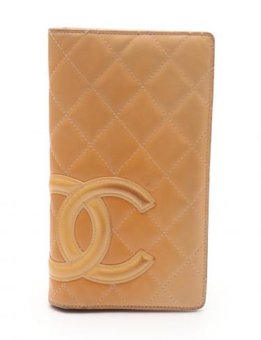 c2133f590d1f CHANEL(シャネル)カンボンライン 二つ折り長財布 レザー ベージュ|中古ブランド通販のRECLO