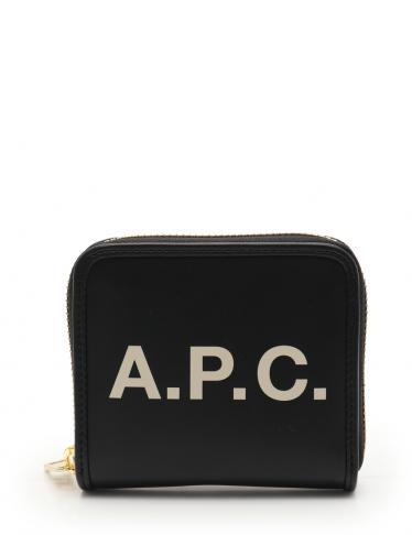 quality design 4dfb4 f3c7c A.P.C.(アーペーセー)ラウンドファスナー 二つ折り財布 フェイクレザー 黒 オフホワイト ロゴ|中古ブランド通販のRECLO