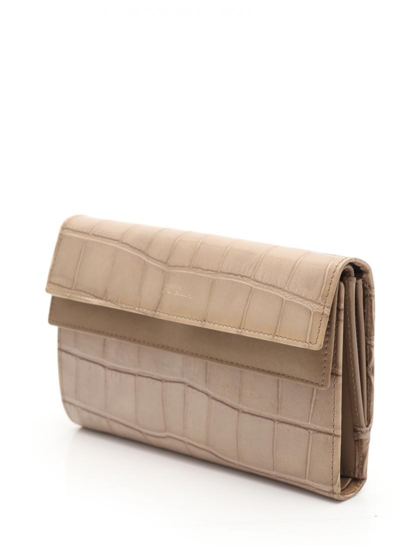 d617b55a9145 FURLA(フルラ)ダブルフラップ 三つ折り長財布 レザー ベージュ クロコ型押し|中古ブランド通販のRECLO