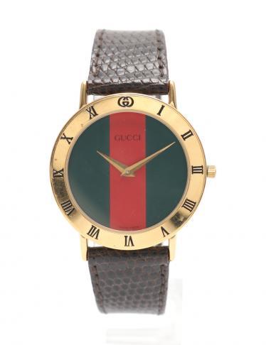 check out 9dc35 250a9 GUCCI(グッチ)シェリー 腕時計 メンズ クオーツ GP レザー ゴールド ダークブラウン 型押しベルト|中古ブランド通販のRECLO