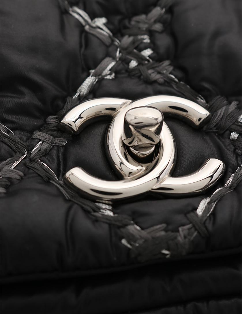 791c2f687f93 CHANEL(シャネル)パリビザンス ココマーク チェーンショルダーバッグ ナイロン 黒 グレー シルバー金具|中古ブランド通販のRECLO