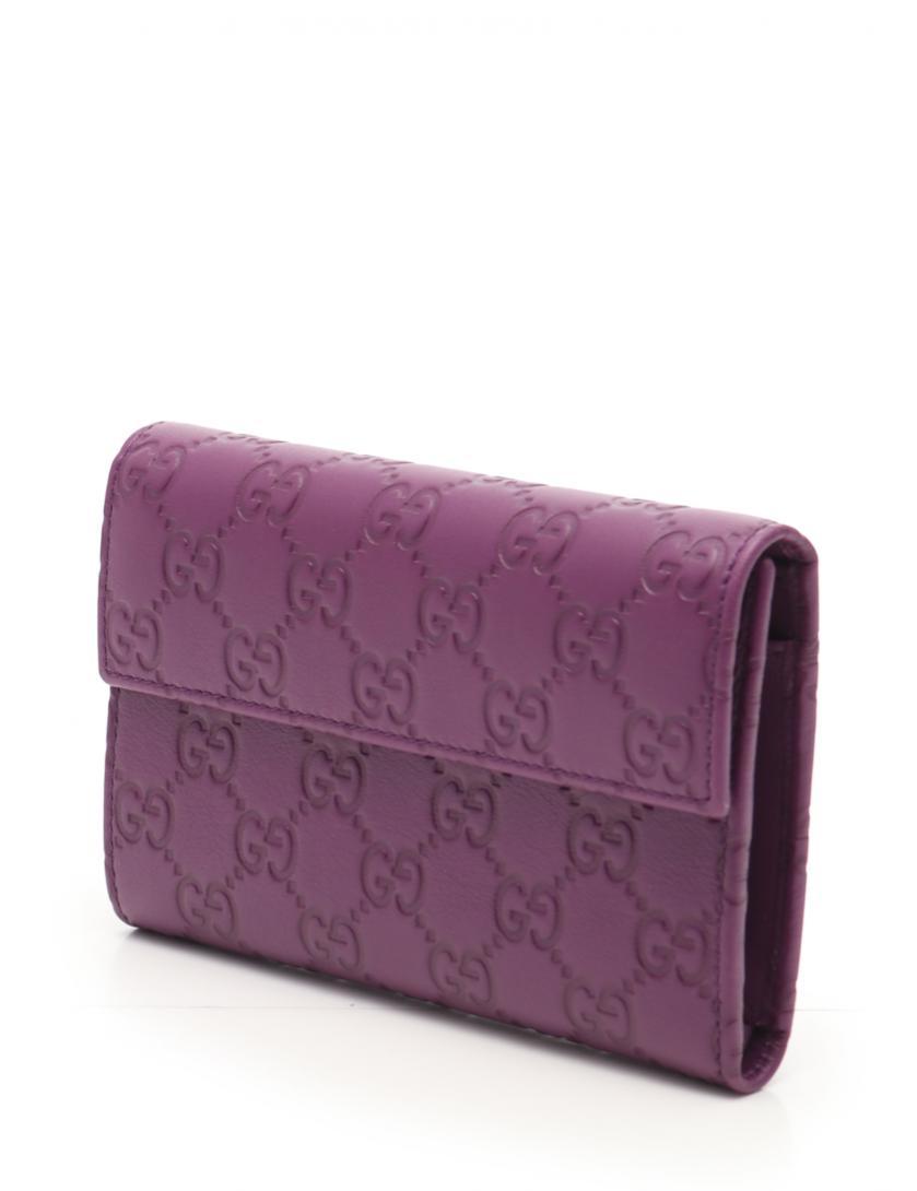 d8d3c0062dcd GUCCI(グッチ)グッチシマ 三つ折り財布 レザー 紫|中古ブランド通販のRECLO