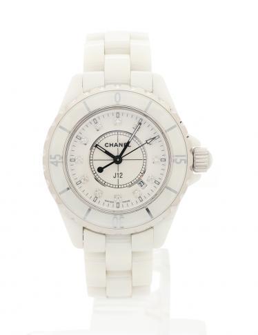 finest selection 26ebf 2b1bf CHANEL(シャネル)J12 レディース 腕時計 クオーツ セラミック 白 12Pダイヤモンド 白文字盤 中古ブランド通販のRECLO